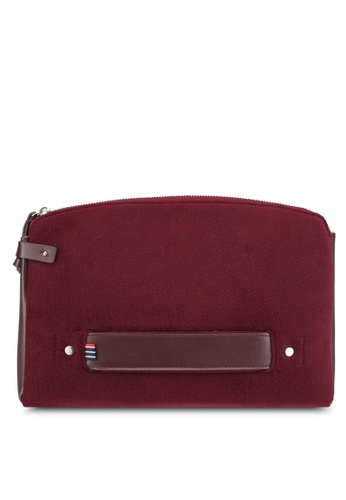 ZALORA red and brown Felt and Faux Leather Document Folio A6C61AC80E44BAGS_1