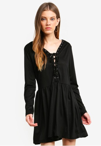 Brave Soul black Long Sleeve Skater Dress With Tie Up Front Detail A44A2AA2C68007GS_1
