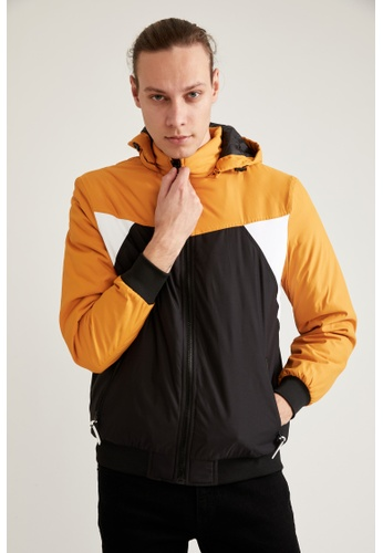 DeFacto yellow Slim Fit Hooded Jacket 69A8EAA155B933GS_1