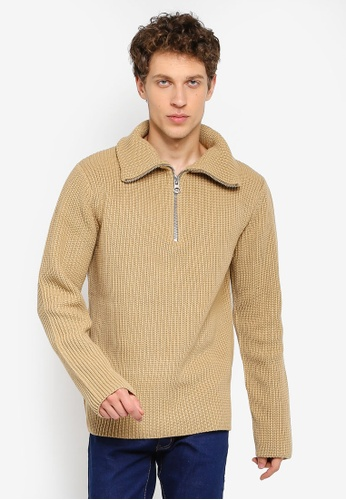 River Island beige Long Sleeve Textured Funnel Neck Jumper 40741AA3B4E62FGS_1