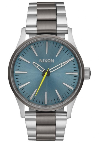 Nixon grey and green and blue Nixon - Sentry 38 SS - Gunmetal/Aqua NI855AC17KHMSG_1