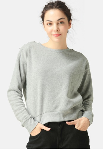 London Rag grey Sweatshirt With Shoulder Lace Loop 1F6F4AAD0B1005GS_1