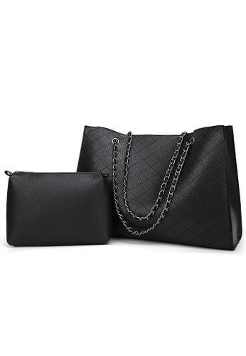 Lara black Women Medium Lingge Tote Bag With Small Hand Bag 972B2AC77CC0C6GS_1