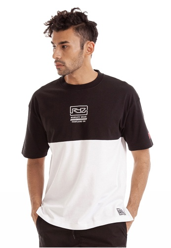 RYZ black and white RYZ Black & White Colourblock Short Sleeve T-Shirt. F4F2AAA4BAB691GS_1