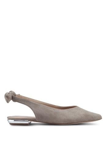 Miss KG 灰色 麂皮尖頭繞帶平底鞋 17152SHAC8E3A9GS_1