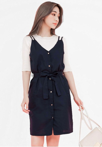 Eyescream blue Love Button Down Dress 20DF6AA13849F4GS_1