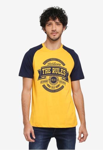 Fidelio 黃色 撞色休閒印花T恤 DDA28AA02DA9B5GS_1