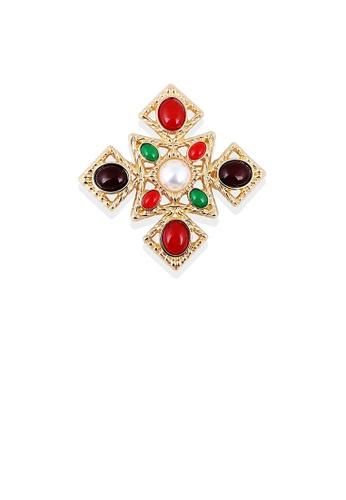 Glamorousky white Fashion and Elegant Plated Gold Geometric Diamond Brooch with Imitation Pearls 93BBDAC7ED57C8GS_1