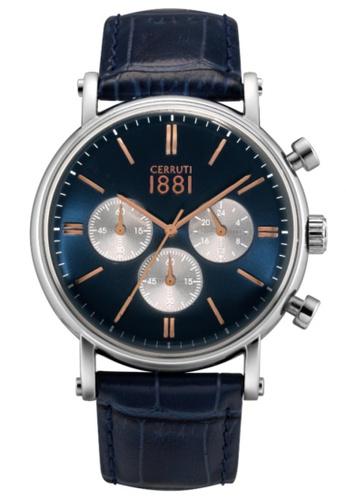 CERRUTI 1881 blue Tremezzo Chronograph Blue Leather Strap Men Watch CE514AC33QOSMY_1