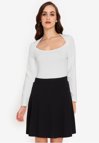 ZALORA WORK white Square Neck Long Sleeves Top 91288AA6EEAD3BGS_1
