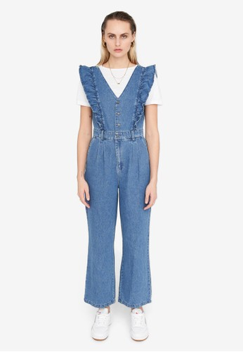 Noisy May blue Elly Ruffle Detail Jumpsuit CC0A1AA1B58E0BGS_1