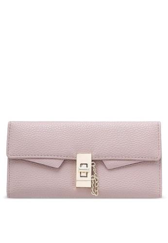 NUVEAU purple Pebbled Textured Long Wallet NU245AC0RKWGMY_1