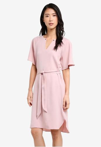 ZALORA pink Collection Shift Dress With Belt B2ED2AA2BC30F2GS_1