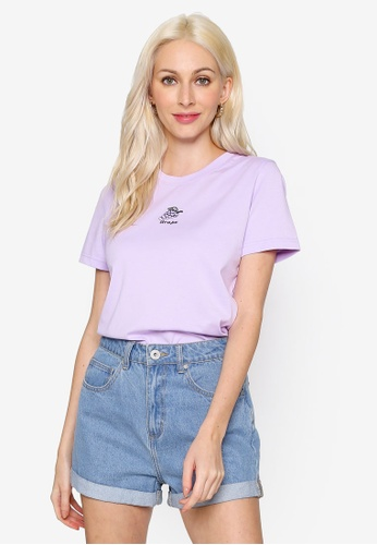 Hopeshow purple Fruit Embroidered Round Neck Short Sleeve T-Shirt 0064DAA034035EGS_1