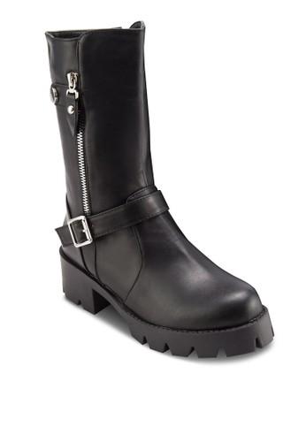 針扣飾厚底中筒靴zalora 心得, 女鞋, 鞋