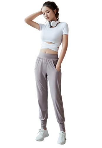 B-Code purple ZYG3106-Lady Quick Drying Running Fitness Yoga Sports Bra, Top and Leggings Three Pieces Set -Purple FC2F9USD488423GS_1