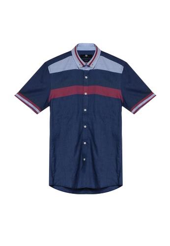 UniqTee 藍色 條紋印花襯衫 FA12BAA3FB2343GS_1