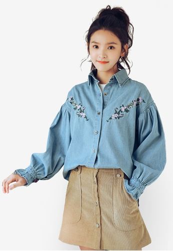 Shopsfashion blue Embroidery Bubble Sleeved Blouse F7539AAA053DCCGS_1