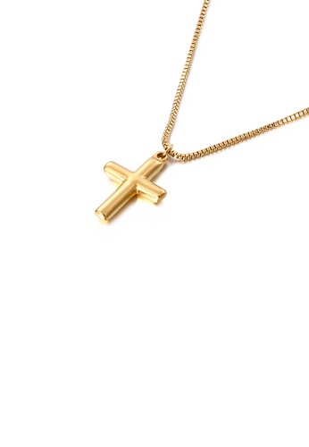 Glamorousky silver Simple and Fashion Plated Gold Cross 316L Stainless Steel Pendant with Necklace 07341ACB1D3B47GS_1