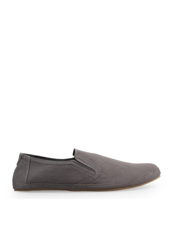 Minarno grey Gray Canvas Slip-On ND08 MI641SH25DLIID_1