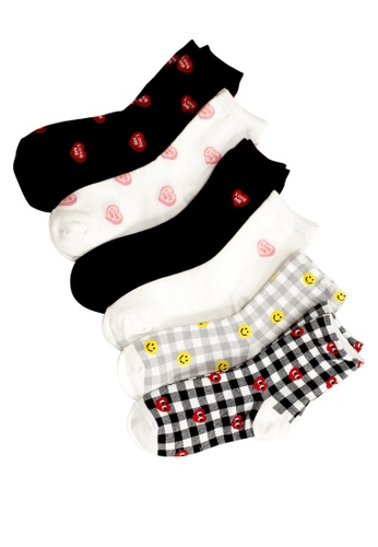 Shu Talk multi 6 pairs Mixed Set Heart to heart Lovely Ankle Socks 93794AA00D47E9GS_1