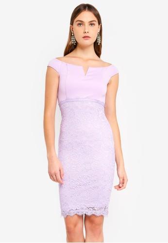 AX Paris purple Notch Front Lace Detail Midi Dress 025B7AADF715BEGS_1