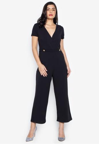 6723d062 Dorothy Perkins black Black Wrap Button Culotte Jumpsuit 70027AAE5FDF2AGS_1