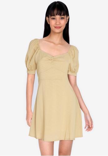 ZALORA BASICS yellow Gathered Front Puff Sleeve Dress FCDEEAAA4FD6A3GS_1