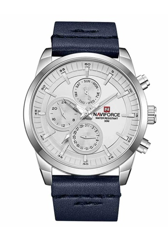 Naviforce black Naviforce Silver and Black Leather Watch BC25FAC0148974GS_1