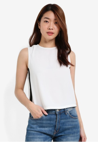 ZALORA white Boxy Cropped Top With Contrast Side Stripes D60E4AA3818BFAGS_1
