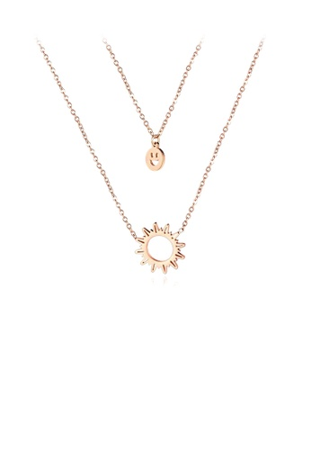 Glamorousky silver Simple Plated Rose Gold Smiley Face and Sun 316L Stainless Steel Double Necklace EA438AC87DF480GS_1