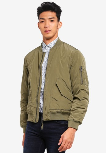 MANGO Man green Quilted Lining Bomber Jacket 90A94AA3943BFAGS_1