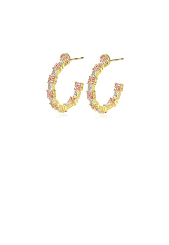 Glamorousky white Fashion Simple Plated Gold Geometric Circle Earrings with Pink Cubic Zirconia A452BACA49CFA7GS_1