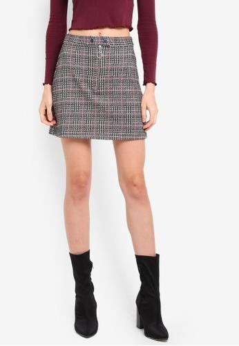TOPSHOP grey Petite Zip Popper Checkered Mini Skirt TO412AA0SZ6QMY_1