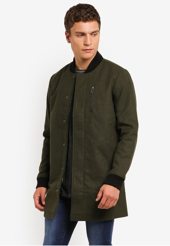 Only & Sons green ONLY ONE Ibrahim Long Bomber Jacket ON662AA0RMBXMY_1
