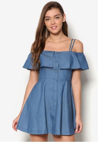 Loveesprit outlet台北 荷葉層次雙肩帶傘擺洋裝, 服飾, 洋裝
