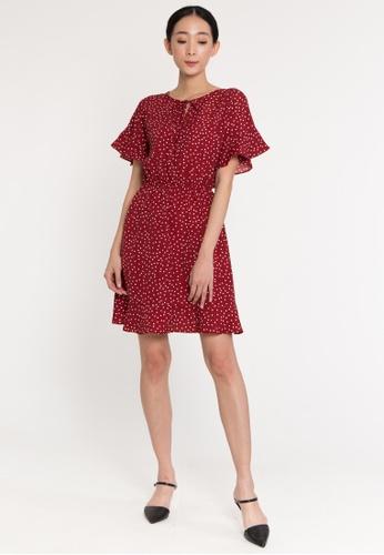 Plain B. red Plain B. Round Neckline Short Sleeve Floral Short Dinner Dress DA080AABA0A3EAGS_1
