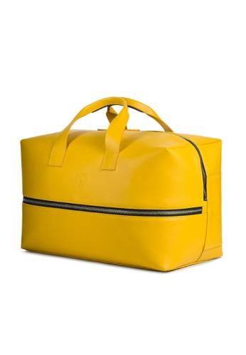 Lamborghini yellow Automobili Lamborghini® Pure Yellow Calf Leather Travel Bag Made in Italy DD99FAC19F0C62GS_1