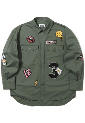 izzue green Freedom patched shirt B904EAA11C1028GS_1