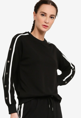 ZALORA ACTIVE black Snap Button Long Sleeve Sweater D0AE2AA4D51F13GS_1