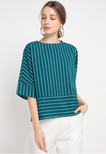 Korz green Striped Blouse With Batwing Sleeve D80CEAA3228E71GS_1