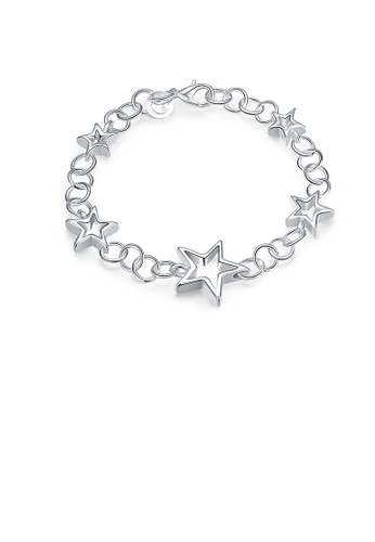 Glamorousky silver Simple Fashion Hollow Star Bracelet 306E8AC818168FGS_1