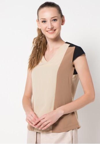 sophistix beige Greer Blouse In Brown, Black & Cream SO829AA15ARSID_1