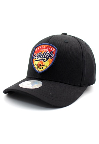 DOSSCAPS black FLIPPER Red Wildlife Patch Fitted Cap DO290AC0RTQJMY_1