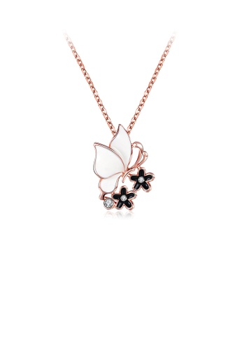 Glamorousky white Elegant Plated Rose Gold Butterfly Pendant with Austrian Element Crystal and Necklace FA5D4ACD62E3CFGS_1