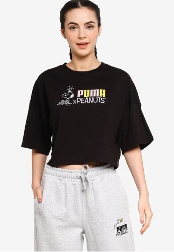 Puma black PUMA x PEANUTS Women's Tee 7C092AAAF62791GS_1