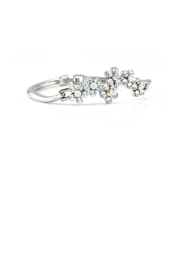 Glamorousky silver Glistering Flower Bangle with Silver Austrian Element Crystals 82313ACF15B0BCGS_1