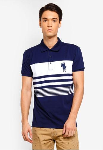Fidelio navy Printed Stripes Cut and Sew Polo Shirt D76E5AAC26E20AGS_1