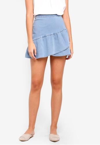 ZALORA blue Denim Ruffles Skirt B82D3AAF4B9073GS_1