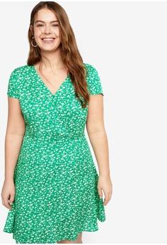 bd5d9f3e407973 Violeta by MANGO green Plus Size Floral Wrap Dress 73496AA154CB99GS 1